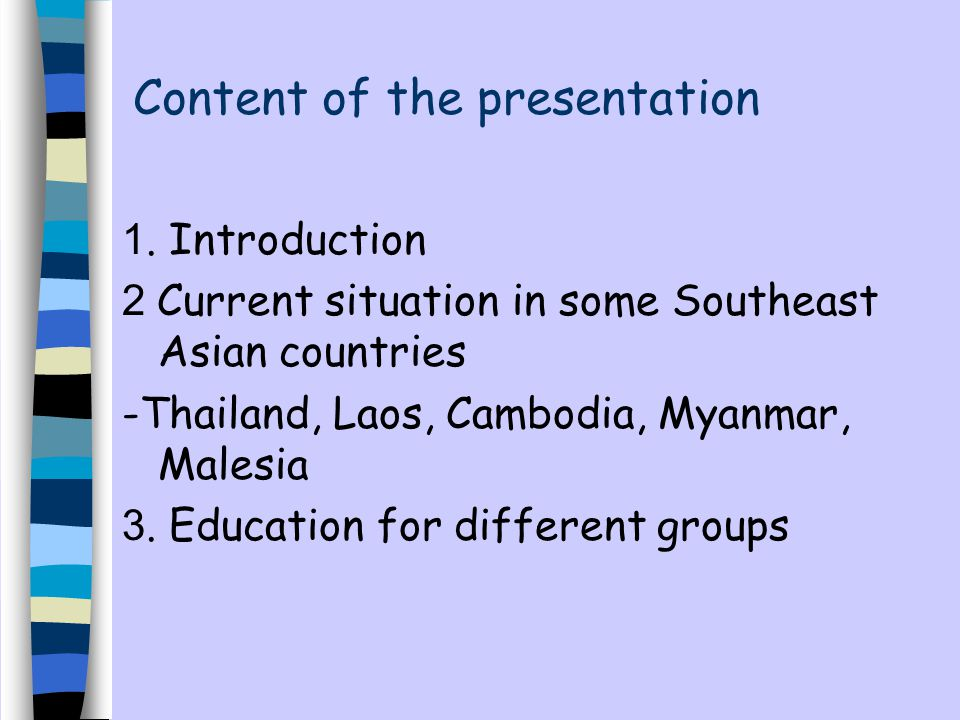 Content of the presentation 1.