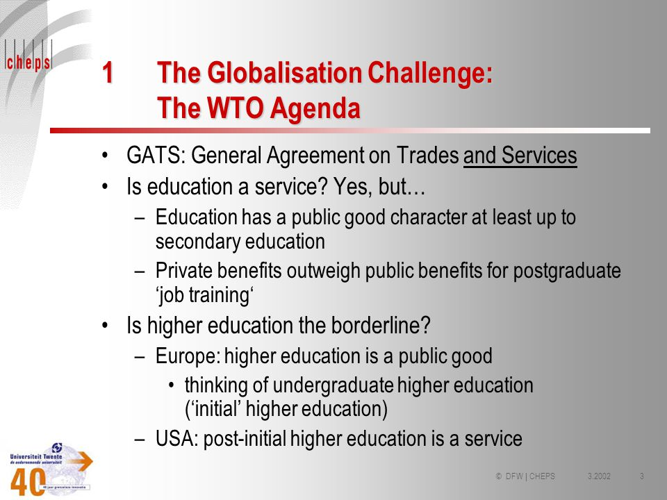 3.20024© DFW | CHEPS 1The Globalisation Challenge: The WTO Agenda How to maintain the border between initial and post-initial.