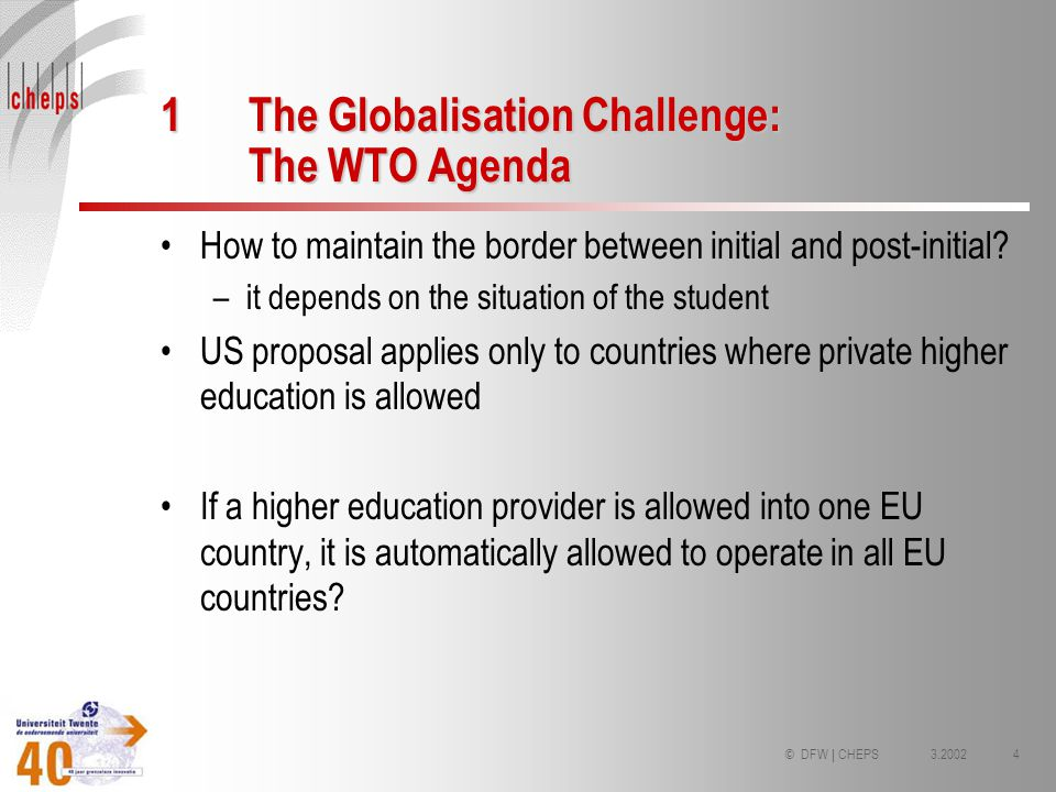 3.20024© DFW | CHEPS 1The Globalisation Challenge: The WTO Agenda How to maintain the border between initial and post-initial? –it depends on the situ
