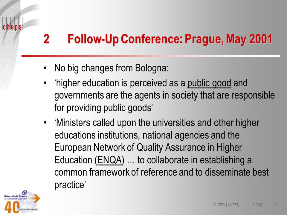 3.20028© DFW | CHEPS 2Follow-Up Conference: Prague, May 2001 No big changes from Bologna: higher education is perceived as a public good and governmen