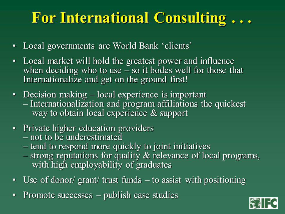 For International Consulting...
