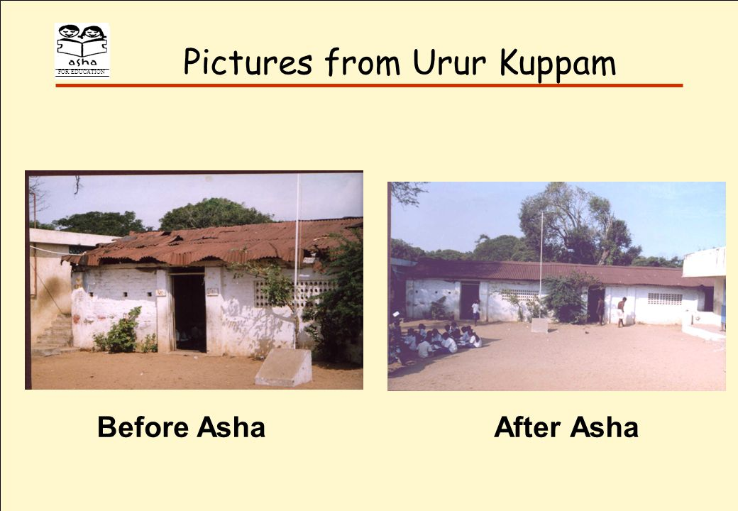 FOR EDUCATION Pictures from Urur Kuppam Before AshaAfter Asha