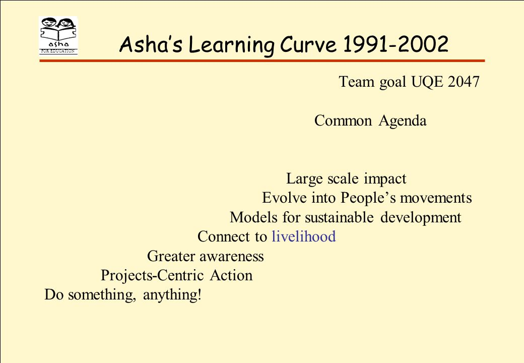FOR EDUCATION Ashas Learning Curve 1991-2002 Team goal UQE 2047 Common Agenda Large scale impact Evolve into Peoples movements Models for sustainable development Connect to livelihood Greater awareness Projects-Centric Action Do something, anything!