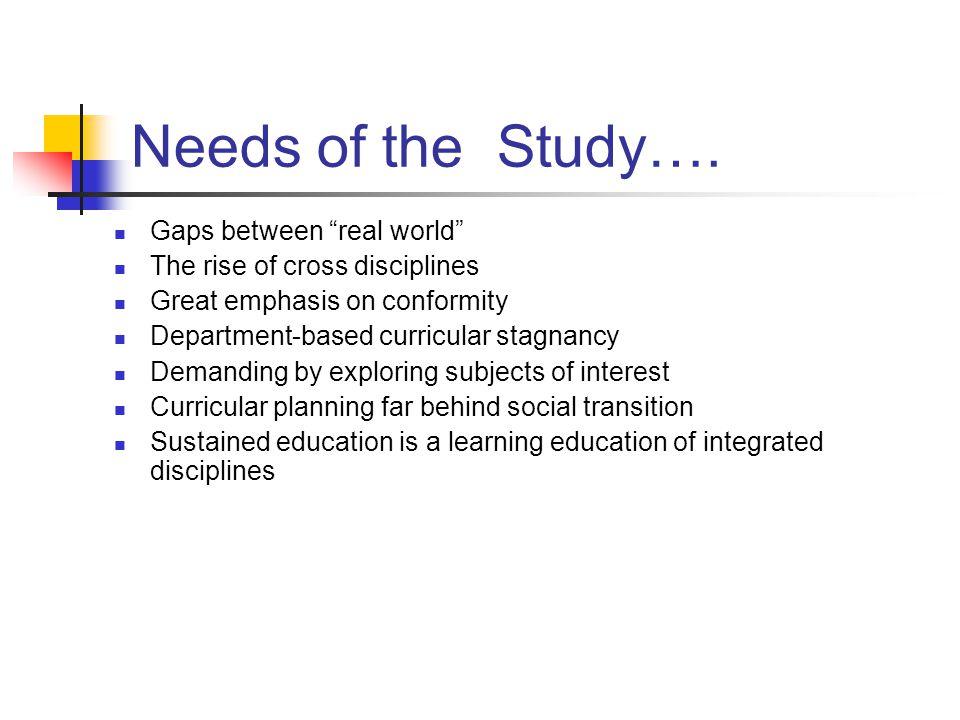 Needs of the Study….