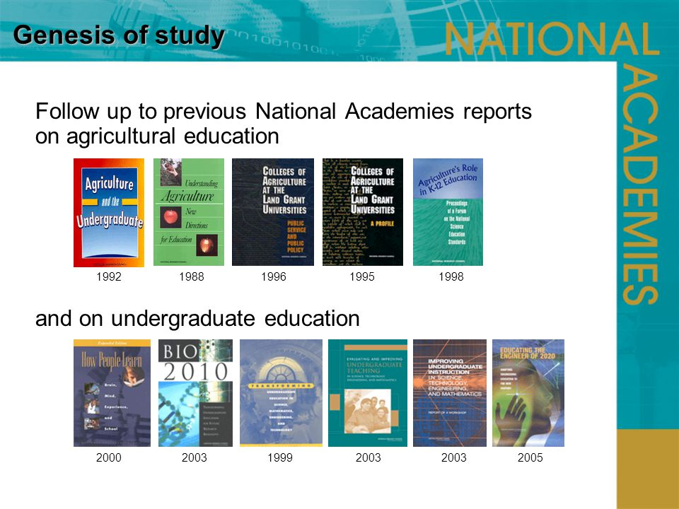 Genesis of study Follow up to previous National Academies reports on agricultural education and on undergraduate education 1992 1988 1996 1995 1998 2000 2003 1999 2003 2003 2005