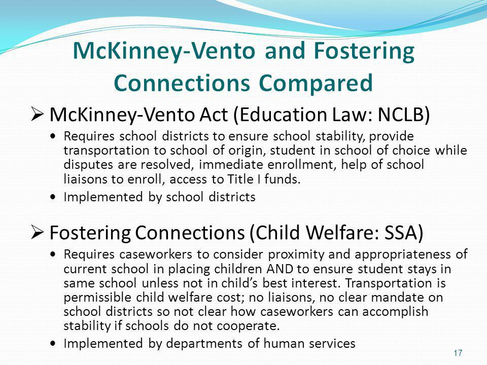 McKinney-Vento Act (Education Law: NCLB) Requires school districts to ensure school stability, provide transportation to school of origin, student in