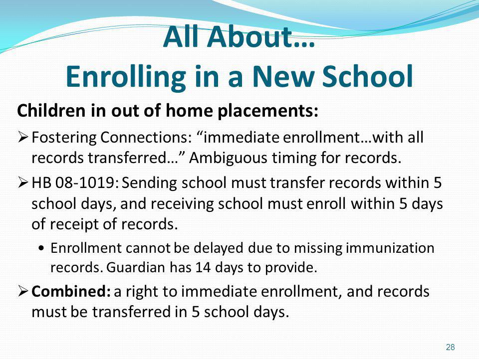 All About… Enrolling in a New School Children in out of home placements: Fostering Connections: immediate enrollment…with all records transferred… Amb