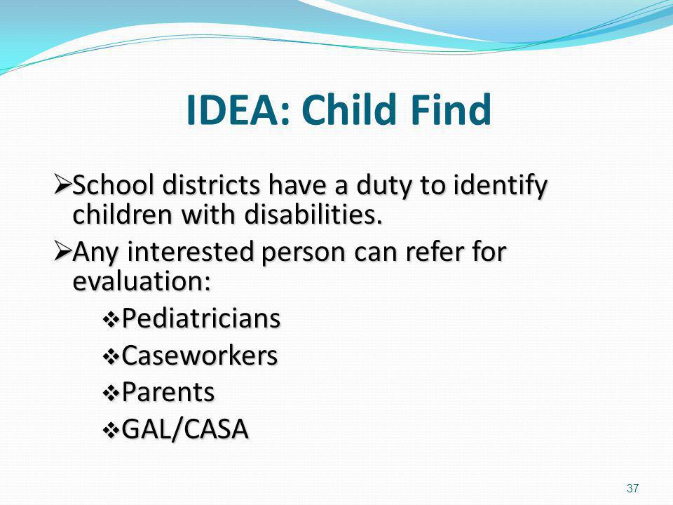 IDEA: Child Find School districts have a duty to identify children with disabilities. School districts have a duty to identify children with disabilit