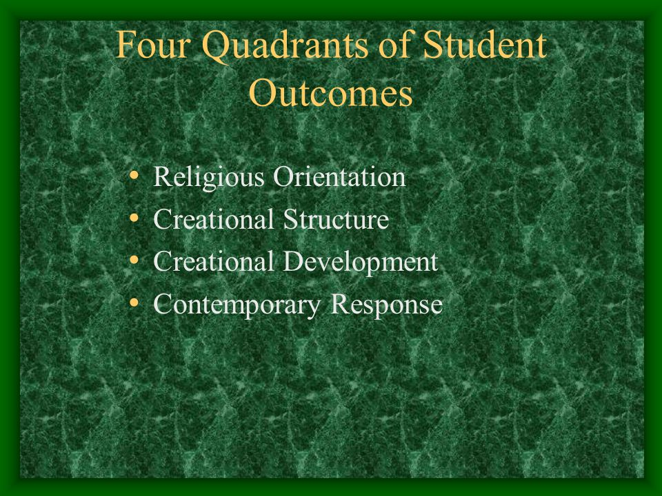 Four Quadrants of Student Outcomes Religious Orientation Creational Structure Creational Development Contemporary Response