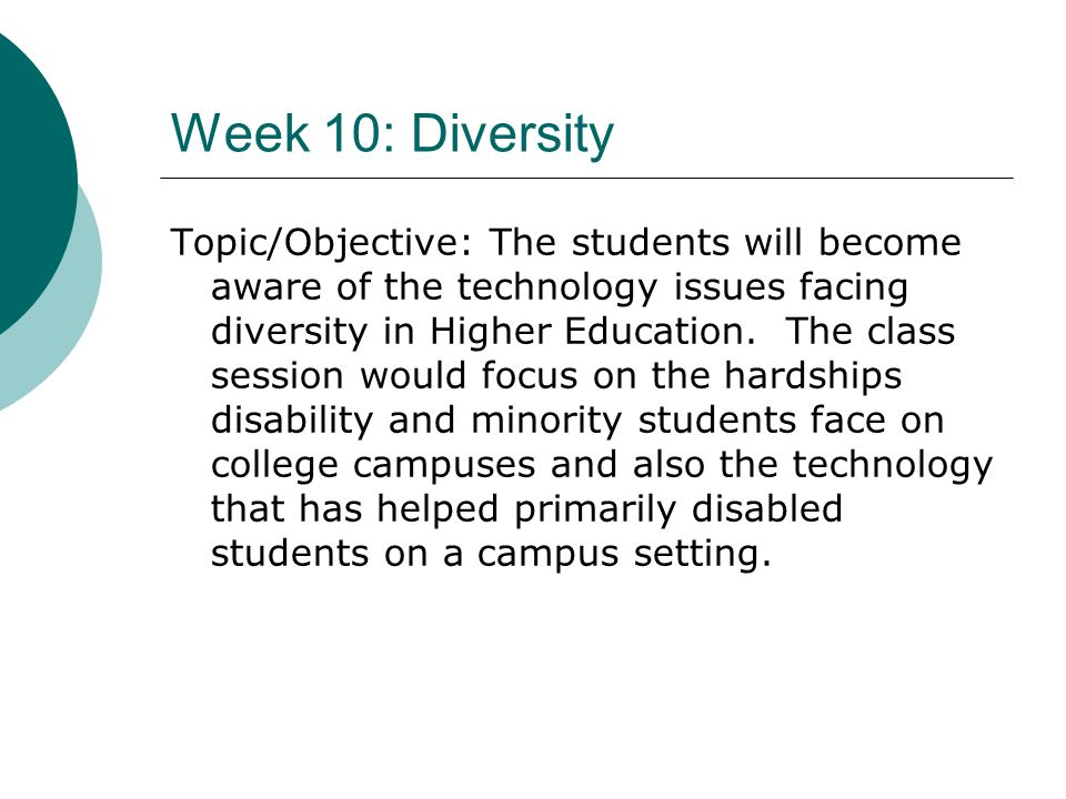 Week 10: Diversity Topic/Objective: The students will become aware of the technology issues facing diversity in Higher Education. The class session wo