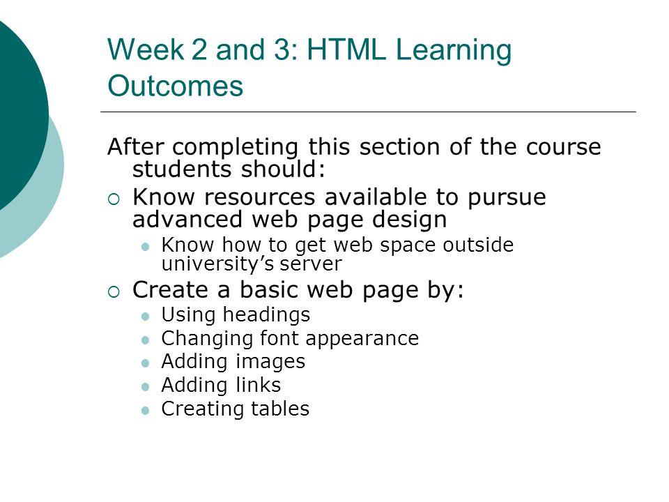 Week 2: HTML Basics Web page fundamentals (HTML) What is HTML.