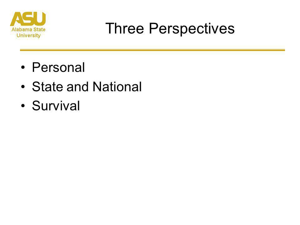 Three Perspectives Personal State and National Survival