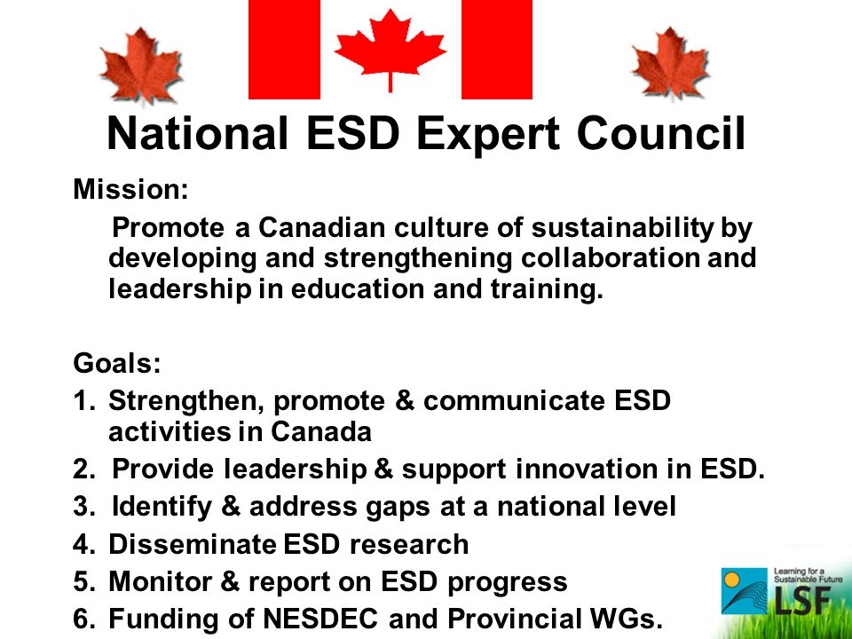 National ESD Expert Council Mission: Promote a Canadian culture of sustainability by developing and strengthening collaboration and leadership in educ