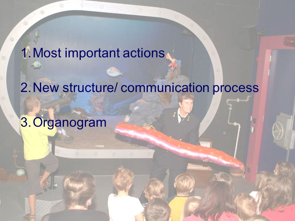 1.Most important actions 2.New structure/ communication process 3.Organogram