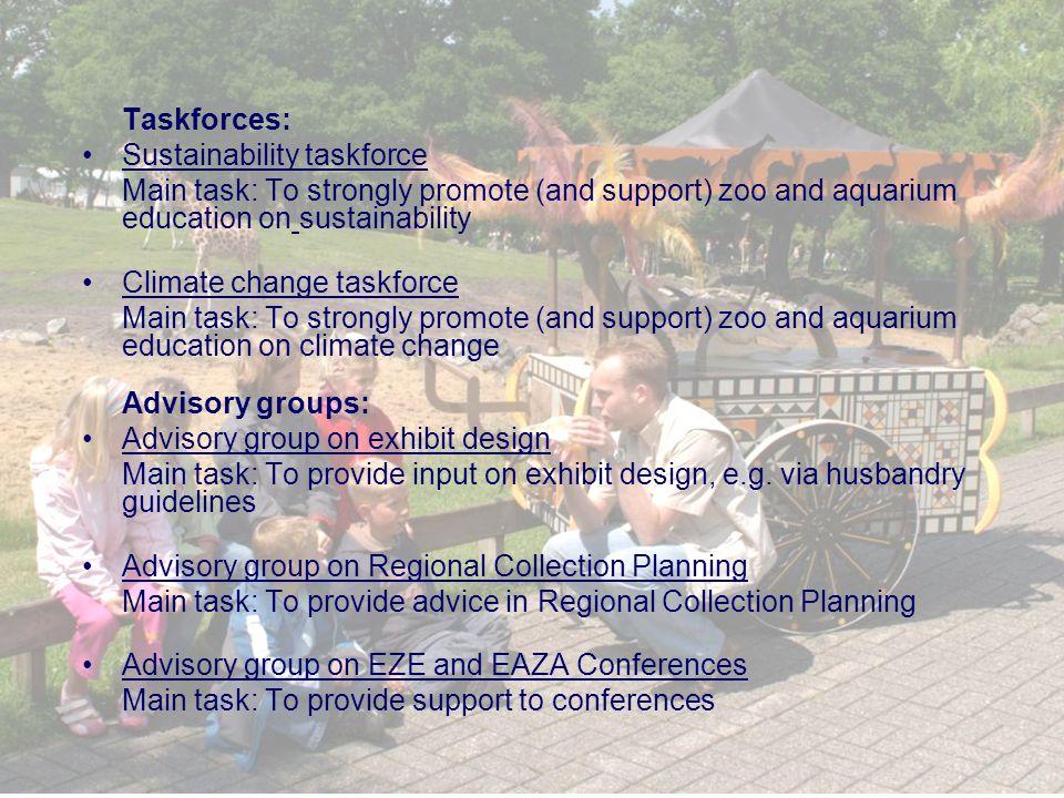 Taskforces: Sustainability taskforce Main task: To strongly promote (and support) zoo and aquarium education on sustainability Climate change taskforce Main task: To strongly promote (and support) zoo and aquarium education on climate change Advisory groups: Advisory group on exhibit design Main task: To provide input on exhibit design, e.g.