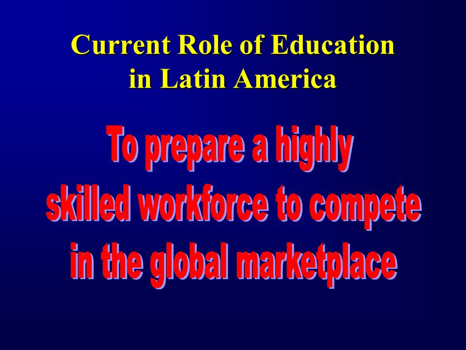 Current Role of Education in Latin America