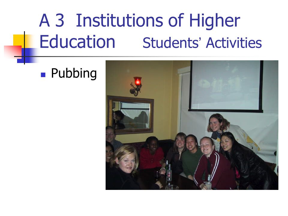 A 3 Institutions of Higher Education Students Activities Pubbing