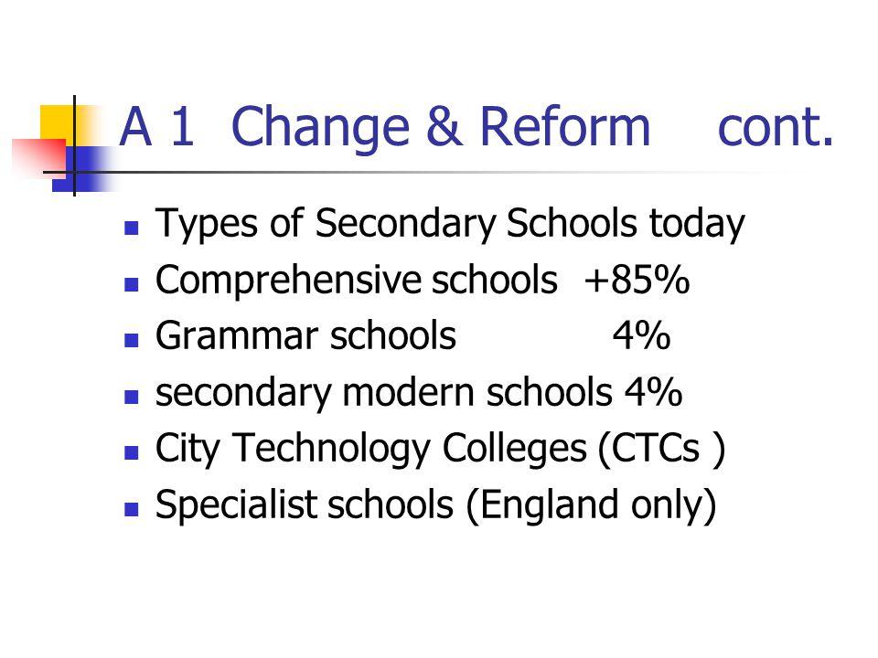 A 1 Change & Reform cont. Types of Secondary Schools today Comprehensive schools +85% Grammar schools 4% secondary modern schools 4% City Technology C