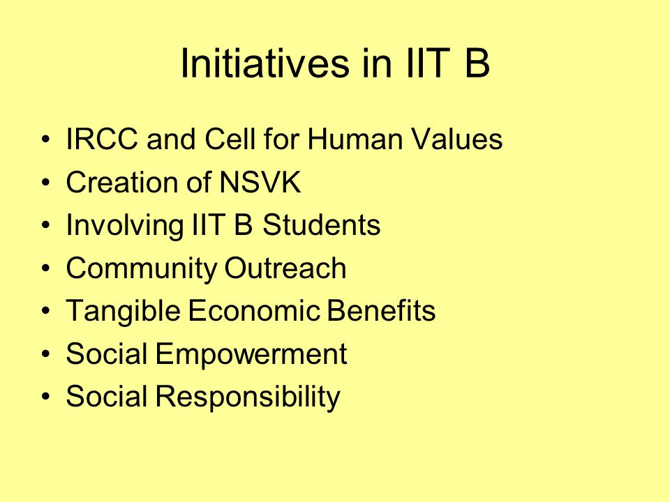 Initiatives in IIT B IRCC and Cell for Human Values Creation of NSVK Involving IIT B Students Community Outreach Tangible Economic Benefits Social Empowerment Social Responsibility