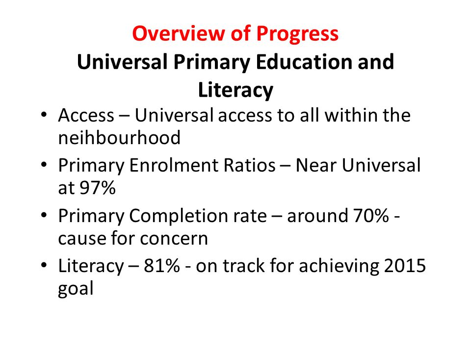 Overview of Progress Universal Primary Education and Literacy Access – Universal access to all within the neihbourhood Primary Enrolment Ratios – Near