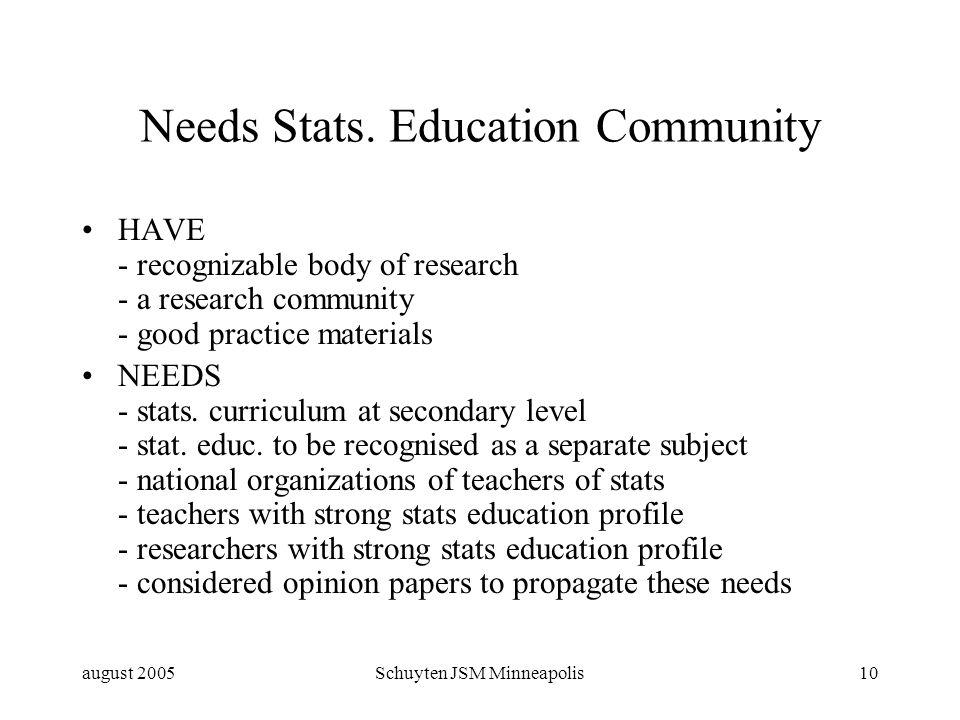 august 2005Schuyten JSM Minneapolis10 Needs Stats.