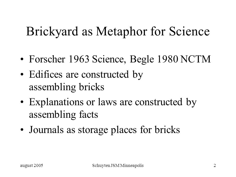 august 2005Schuyten JSM Minneapolis2 Brickyard as Metaphor for Science Forscher 1963 Science, Begle 1980 NCTM Edifices are constructed by assembling bricks Explanations or laws are constructed by assembling facts Journals as storage places for bricks