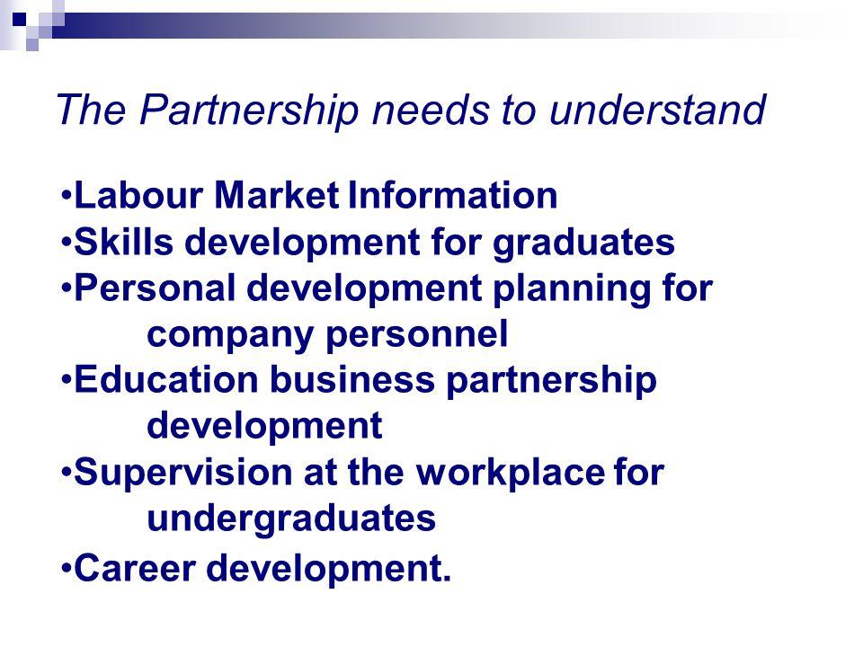 Labour Market Information Skills development for graduates Personal development planning for company personnel Education business partnership developm