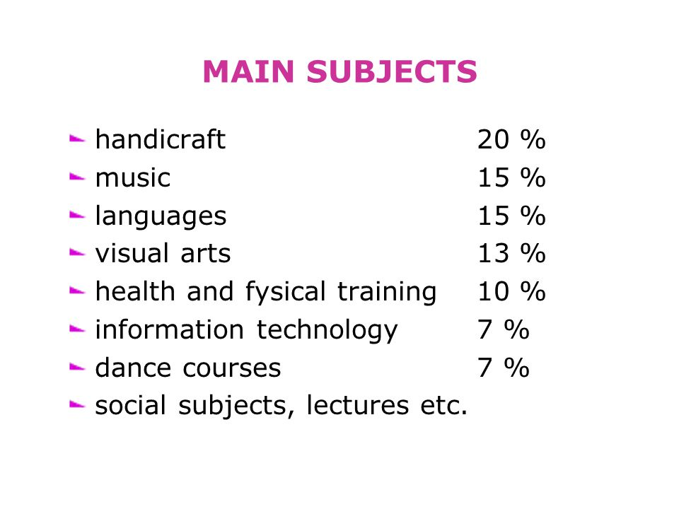MAIN SUBJECTS handicraft 20 % music 15 % languages 15 % visual arts 13 % health and fysical training 10 % information technology 7 % dance courses 7 % social subjects, lectures etc.