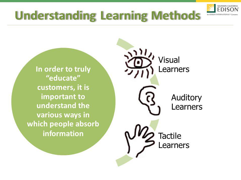 In order to truly educate customers, it is important to understand the various ways in which people absorb information Visual Learners Auditory Learners Tactile Learners Understanding Learning Methods