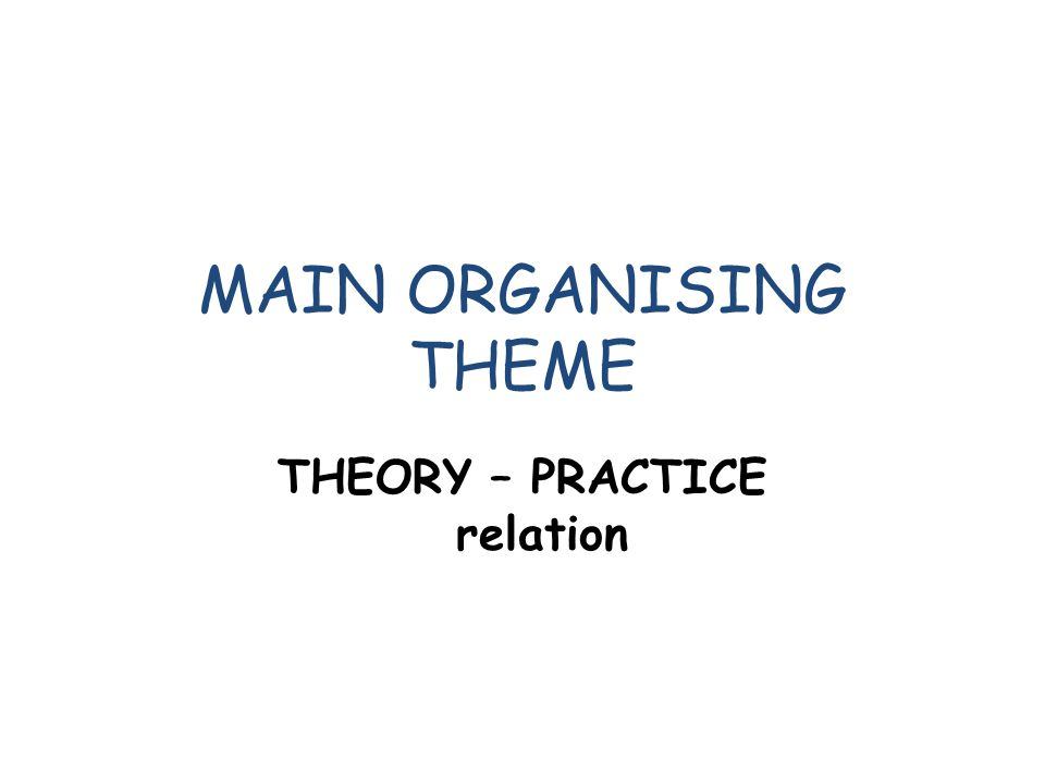 MAIN ORGANISING THEME THEORY – PRACTICE relation