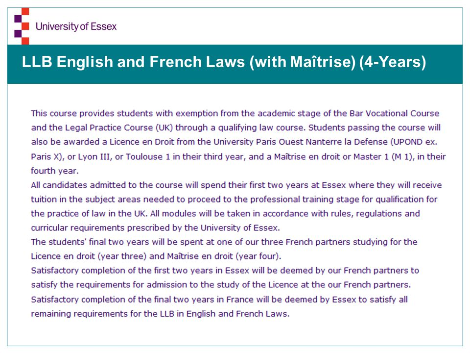 LLB English and French Laws (with Maîtrise) (4-Years)