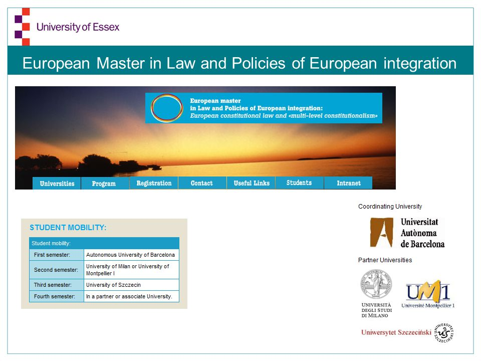 European Master in Law and Policies of European integration