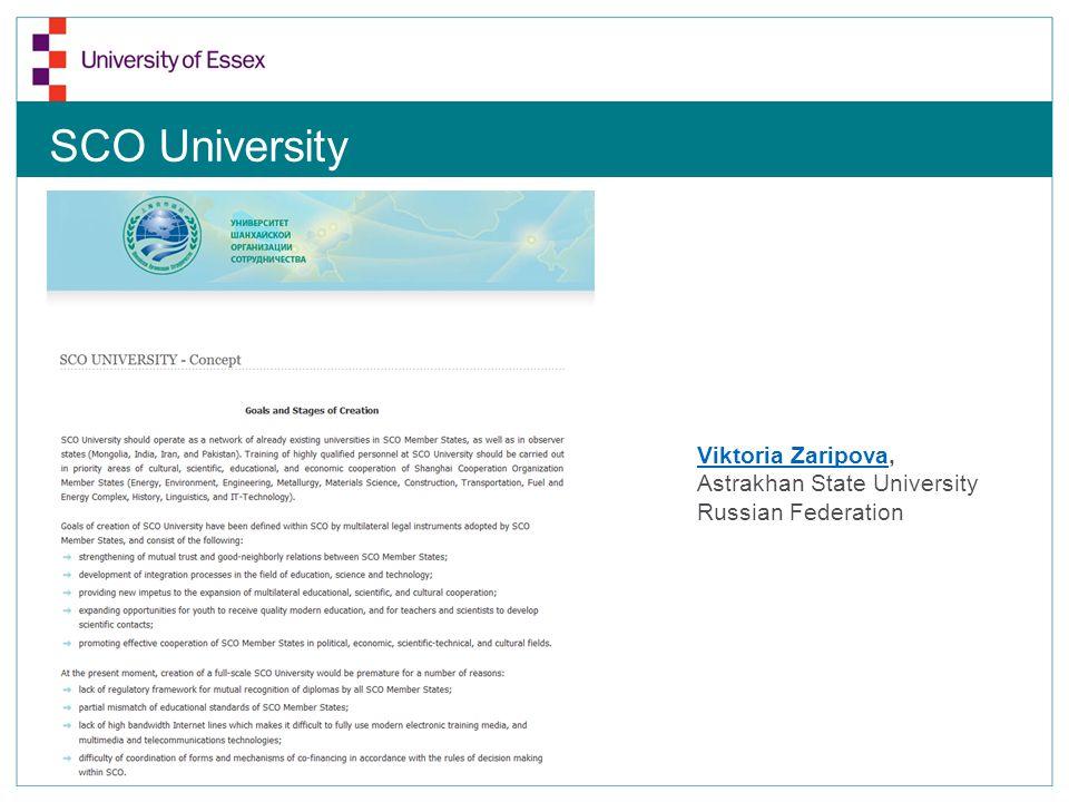 SCO University Viktoria ZaripovaViktoria Zaripova, Astrakhan State University Russian Federation