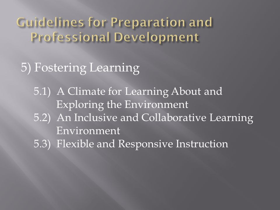 5) Fostering Learning 5.1) A Climate for Learning About and Exploring the Environment 5.2) An Inclusive and Collaborative Learning Environment 5.3) Flexible and Responsive Instruction
