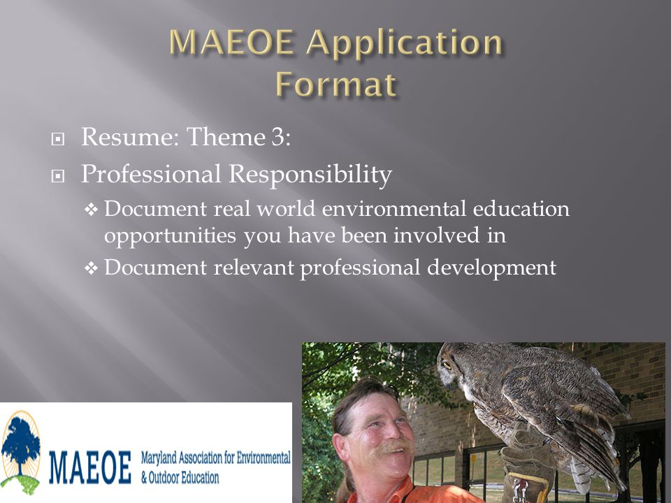 Resume: Theme 3: Professional Responsibility Document real world environmental education opportunities you have been involved in Document relevant professional development