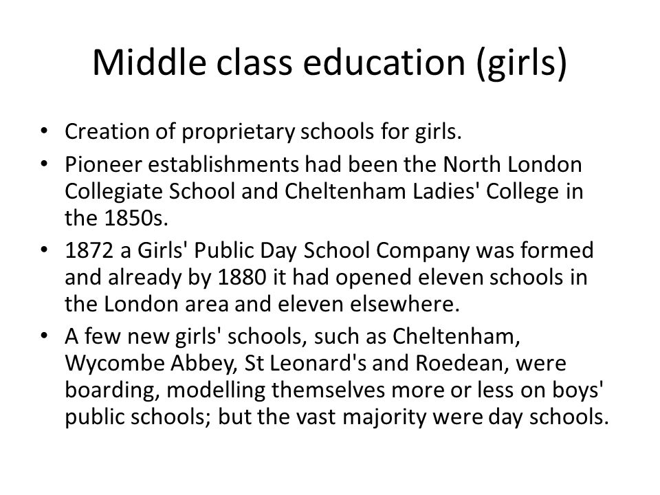 Middle class education (girls) Creation of proprietary schools for girls.
