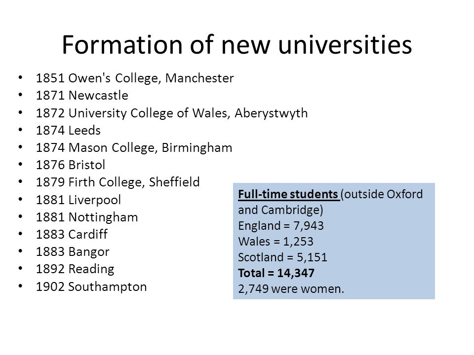 Formation of new universities 1851 Owen's College, Manchester 1871 Newcastle 1872 University College of Wales, Aberystwyth 1874 Leeds 1874 Mason Colle