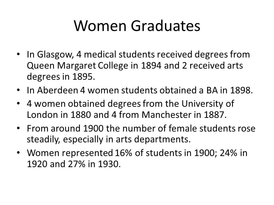 Women Graduates In Glasgow, 4 medical students received degrees from Queen Margaret College in 1894 and 2 received arts degrees in 1895.