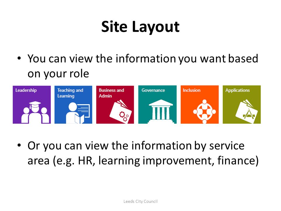 Site Layout You can view the information you want based on your role Or you can view the information by service area (e.g. HR, learning improvement, f