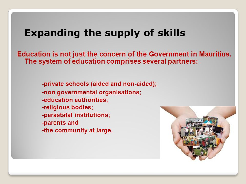 Expanding the supply of skills Education is not just the concern of the Government in Mauritius.