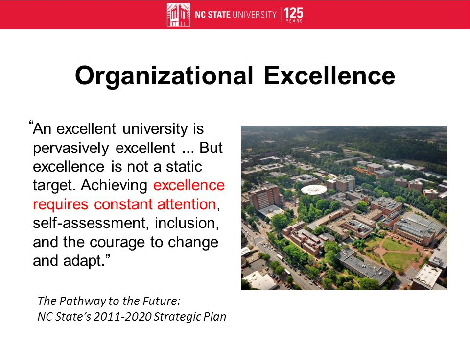 Organizational Excellence An excellent university is pervasively excellent...