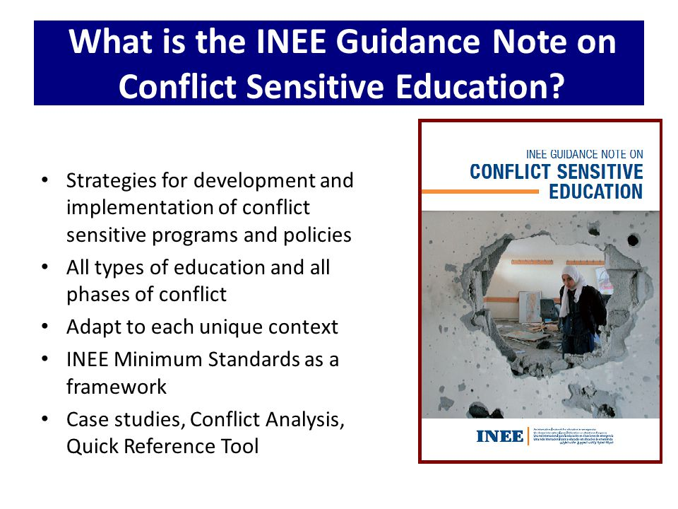 What is the INEE Guidance Note on Conflict Sensitive Education? Strategies for development and implementation of conflict sensitive programs and polic