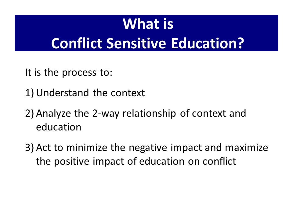 INEE Reflection Tool for Designing and Implementing Conflict Sensitive Education Programmes in Conflict- Affected and Fragile Contexts