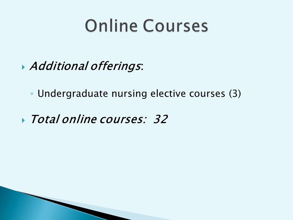 Additional offerings: Undergraduate nursing elective courses (3) Total online courses: 32