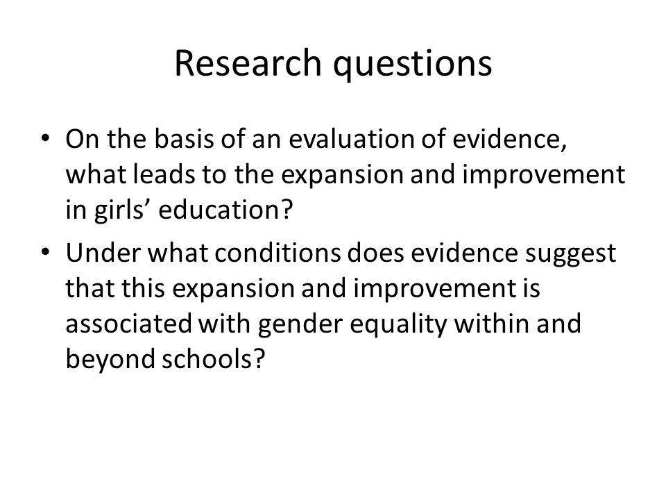 Conclusions on future research There is a need for an integrated research programme combining quantitative, qualitative and mixed methods studies, explicitly filling the research gaps identified in relation to the three kinds of interventions, their connections with each other and their relationship with gender equality.