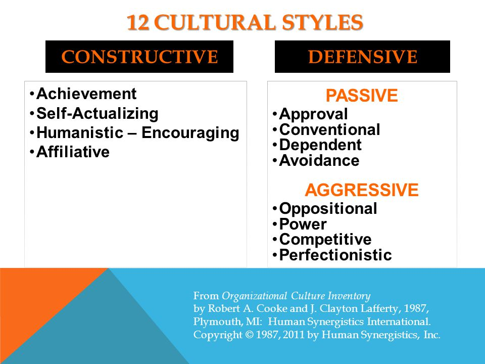 GAP ANALYSIS FOR CULTURE STYLES IN HEds STYLE PERCENTILE SCORE CLUSTER IDEALCURRENTGAP HUMANISTIC-ENCOURAGING 98 73-25 CONSTRUCTIVE ACHIEVEMENT 98 67-31 CONSTRUCTIVE SELF-ACTUALIZING 98 61-37 CONSTRUCTIVE AFFILIATIVE 92 55-37 CONSTRUCTIVE OPPOSITIONAL 57 6710 AGGRESSIVE/DEFENSIVE COMPETITIVE 31 6332 AGGRESSIVE/DEFENSIVE PERFECTIONISTIC 23 5229 AGGRESSIVE/DEFENSIVE POWER 23 5027 AGGRESSIVE/DEFENSIVE AVOIDANCE 15 5944 PASSIVE/DEFENSIVE DEPENDENT 14 5541 PASSIVE/DEFENSIVE CONVENTIONAL 10 5444 PASSIVE/DEFENSIVE APPROVAL 9 5546 PASSIVE/DEFENSIVE
