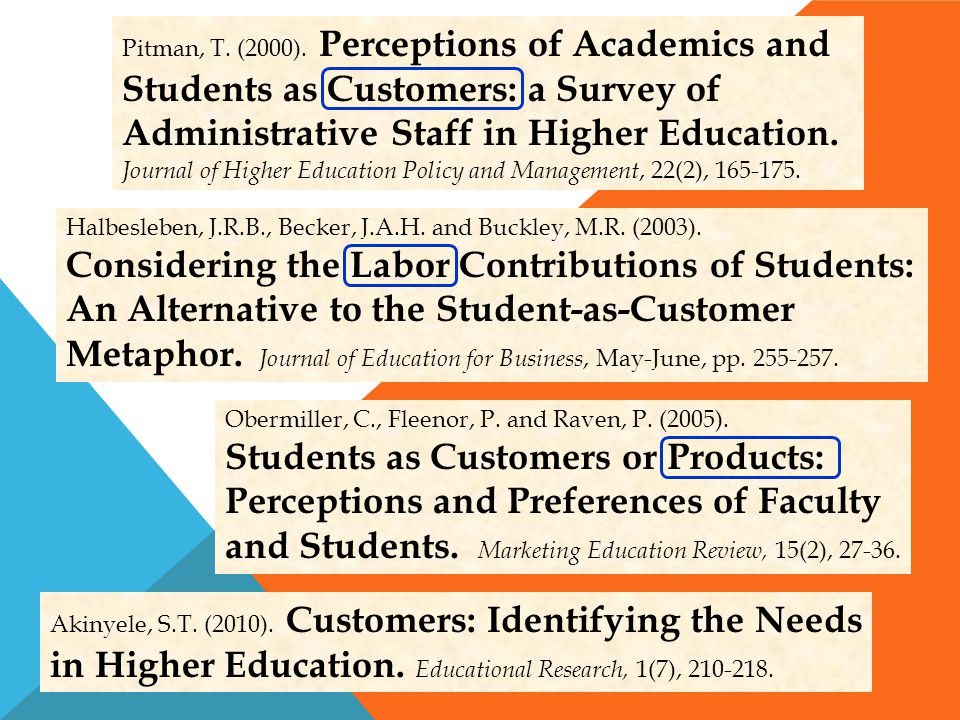 Akinyele, S.T. (2010). Customers: Identifying the Needs in Higher Education. Educational Research, 1(7), 210-218. Halbesleben, J.R.B., Becker, J.A.H.