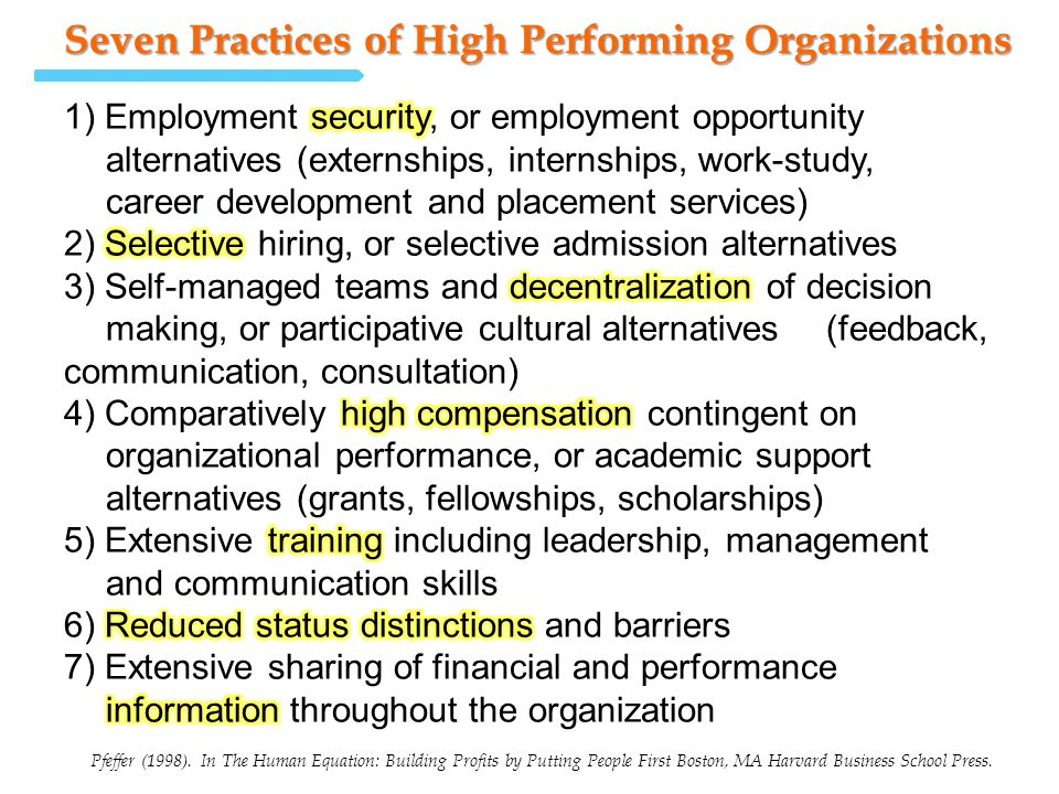 Seven Practices of High Performing Organizations Pfeffer (1998). In The Human Equation: Building Profits by Putting People First Boston, MA Harvard Bu