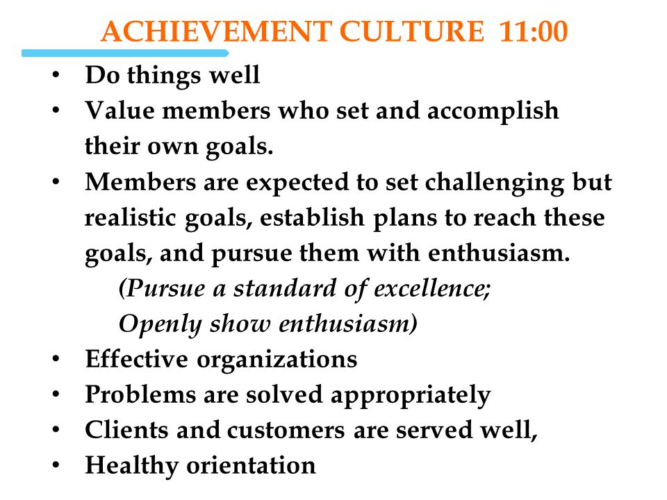 SELF-ACTUALIZATION CULTURE 12:00 Value creativity and quality over quantity Value both task accomplishment and individual growth Members are encouraged to gain enjoyment from their work, develop themselves, and take on new and interesting activities.