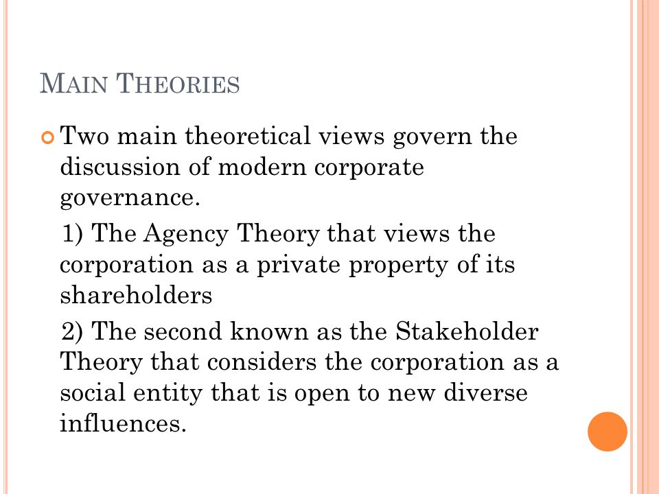 M AIN T HEORIES Two main theoretical views govern the discussion of modern corporate governance.